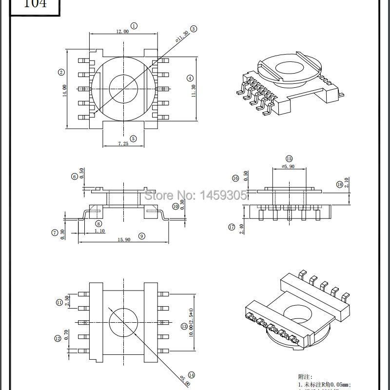 Er14 5 Transformer Material Bobbin Pc40 Soft Magnetic Core Ferrite