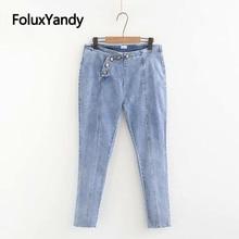 Vintage Jeans Button Fly Casual Slim Stretched Plus Size Denim Pencil Pants Women Skinny Jeans Sky Blue Black Trousers KKFY3212