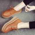 NOVA Primavera 2016 das Mulheres sapatos de Plataforma Plana Moda Casual Flats Lace-Up Oxfords sapatos Para As Mulheres sapatos
