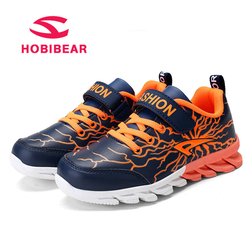 HOBIBEAR Running Children Shoes For Kids Sneaker Boys Shoes Trainer Footwear Casual Shoes Anti-Slippery Leather TPR School Shoe