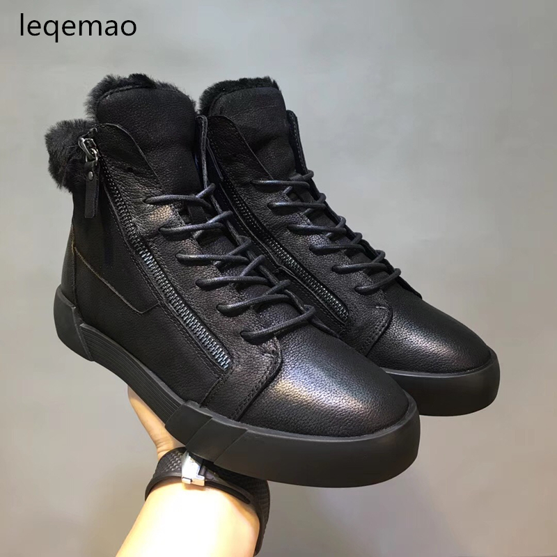 Hot Sale Fashion Men Basic Winter Warm Plush High-Top Boots Cowhide Genuine Leather Luxury Brand Snow Boots Man Flats Shoes hot sale men basic black winter warm fur shoes high top nuduck genuine leather luxury brand ankle snow boots flats size 38 44