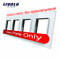 Livolo Luxury White Crystal Glass Switch Panel, 293mm*80mm, EU standard,Quadruple Glass Panel For Wall Socket