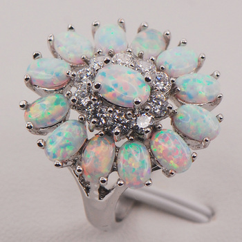 Putih Australia Fire Opal 925 Sterling Silver Wanita Perhiasan Cincin Ukuran 6 7 8 9 10 11 F577