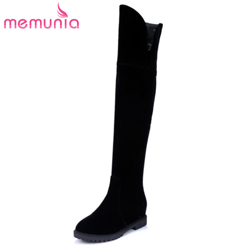 MEMUNIA Top quality flock over the knee boots for women autumn winter zipper black round toe fashion boots stretch size 34-43 women stretch flock leather over the knee boots sqaure high heel fashion pointed toe boots autumn winter long boots plus size 43