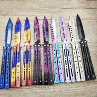 Cuchillo de entrenamiento de titanio y arcoíris, acero inoxidable 5Cr13Mov, cuchillo de mariposa, cuchillo de juego, herramienta sin filo