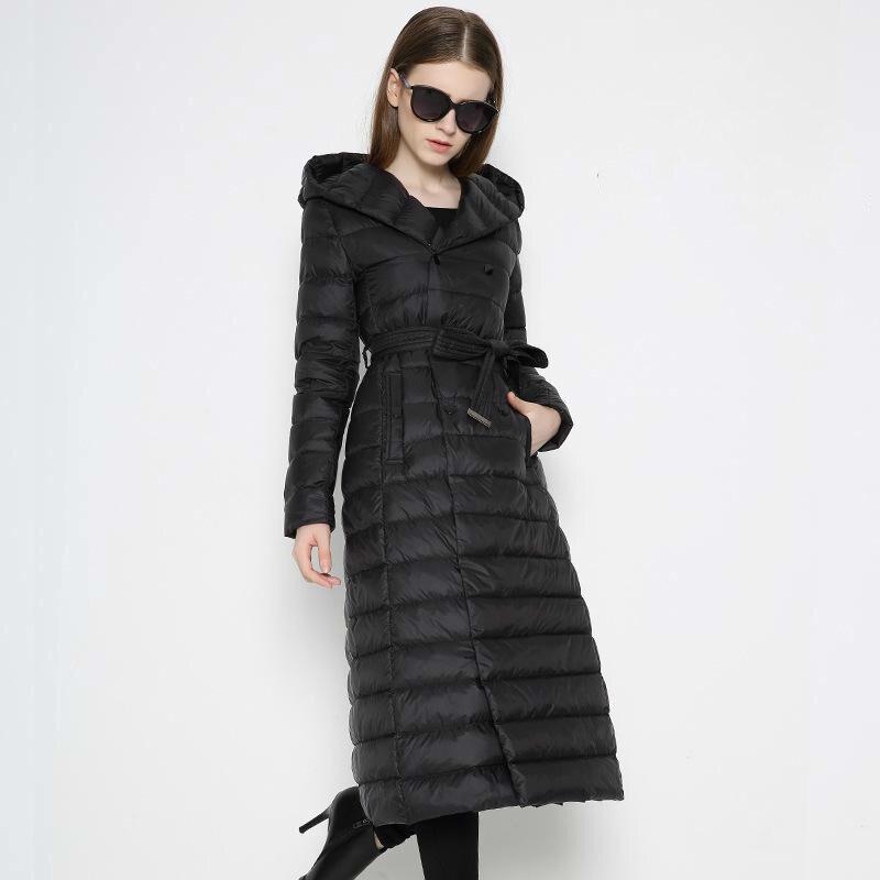 [Aiweier] New Autumn Winter Long Woman Down Jackets Solid Light Hooded Belt Solid Women's Down Coats Plus Size Female Parkas