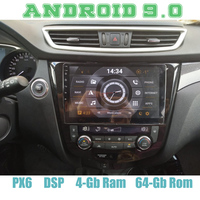 Android 9.0 car radio gps for nissan X trail Qashqai with PX6 4G RAM 64G ROM IPS DSP wifi 4g usb Auto Stereo Multimed