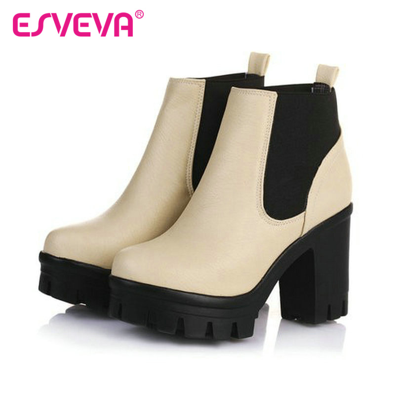 ФОТО ESVEVA mixed color thick high heel ankle boots for women platform slip on lady fashion boots spring autumn Pu casual shoes beige