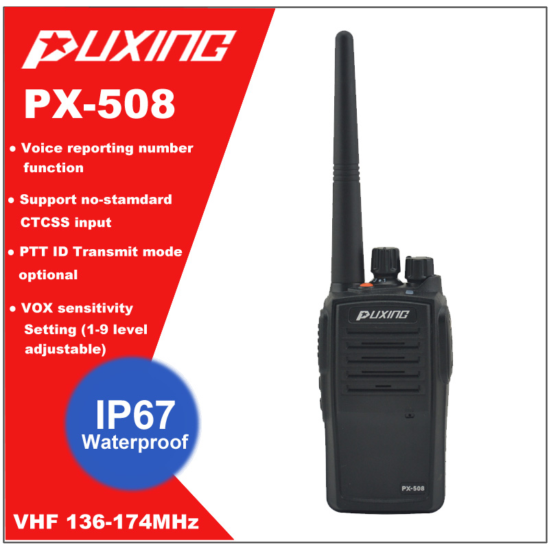 IP67 Waterproof Walkie Talkie Dust proof Radio Puxing PX-508 VHF 136-174MHz Portable Two-way Radio FM Transceiver