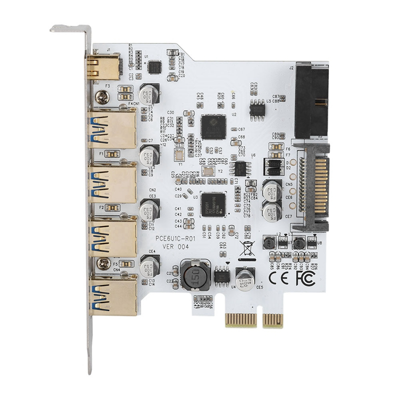 Pci-E To Usb3.0 4-Port Type-C Adapter Expansion Card Connector Dual Interface For Windows Xp Vista Windows 7 Linux Windows 8