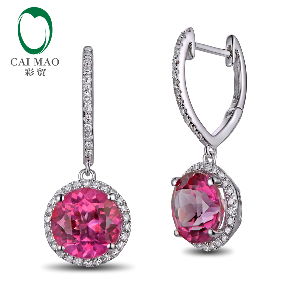 Caimao Jewelry 4.95ct Flawless Round Topaz Earrings 14kt Gold Drop Earrings for Party free shipping