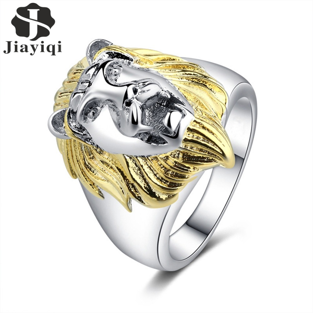 Jiayiqi 2018 Fashion Women Silver Color Classic Round Lion Head Ring Wedding Party Gifts Jewelry Rings
