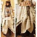 Las mujeres japonesas casuales double layer sweet hebilla vintage de encaje pura asimétrico lindo kawaii lolita falda femenina mori chica d130