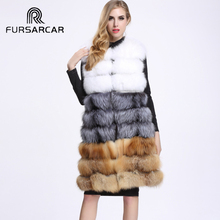 2017 Fashion Lady Fox Fur Vest Women's Real Fur And Leather Winter Overcoat Girl's Warm Outerwear Fur Vest Coat V24