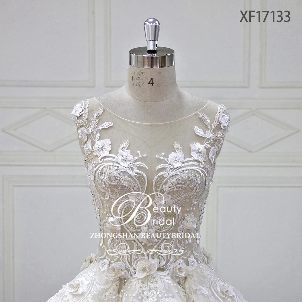 Eslieb Luxe Volledige Bloemen Kristal Parels Trouwjurk 2018 Baljurk - Trouwjurken - Foto 4