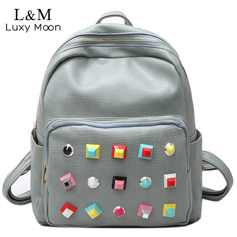 LUXY MOON Women Rivet Backpack 2017 Fashion Backpacks Teenage Girls School Bag PU Leather Rucksack Solid Bags mochila XA1056H new arrival pu leather strap 20mm watch band buckle strap buckle clasp high quality watch strap multicolor fast shipping 012