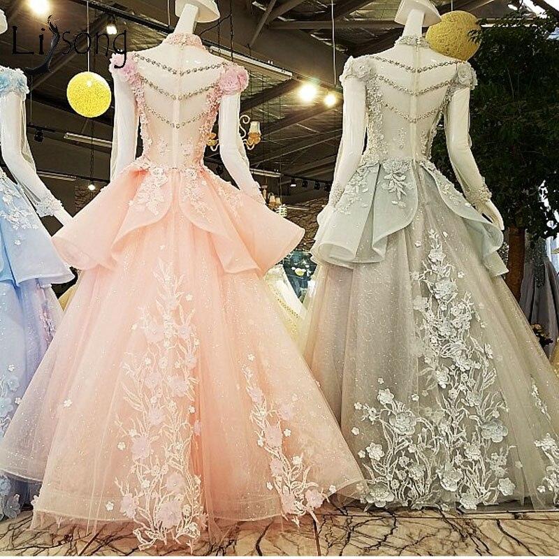 Moslim Elegant Lichtgrijs Lange Prom Dresses 2018 Hoge Kraag Volledige Mouwen 3D Bloem Prom Jassen Crystal Applicaties Abendkleider - 6