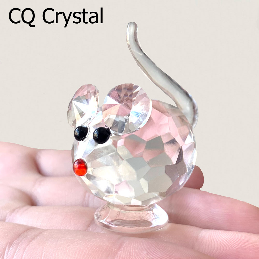 Crystal Cute Mouse Lovely Animal Figurines Glass Ornament Home Table Decorations Great Kids Favor Gifts