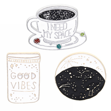 GOOD VIBES constellation Space Universe Warfare Brooch Denim Jackets Pin Buckle Shirt Badge Gift for Kids Friend