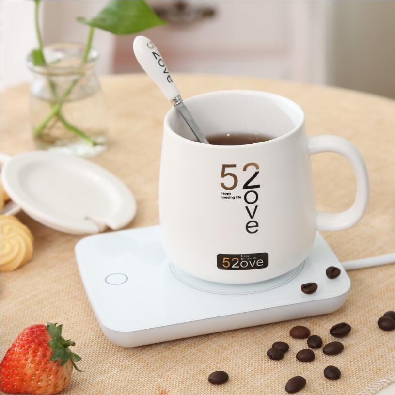 Creative Thermostat Ceramic Mug Couple Mug A set of Health Electric Heating Milk Cup Rechargeable Can Maintain 55 Degrees Gifts