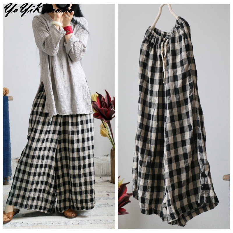 Women Plaid Big Size Cotton Linen Women Pants 2018 New Autumn Spring Original Wide legged Pants