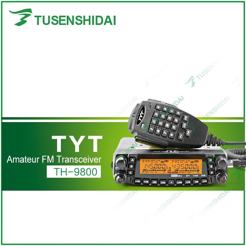 Fast Shipping Newest Vesion Scrambler VHF UHF HF Original TYT TH9800 Quad Band Vehicle Radio+USB Cable