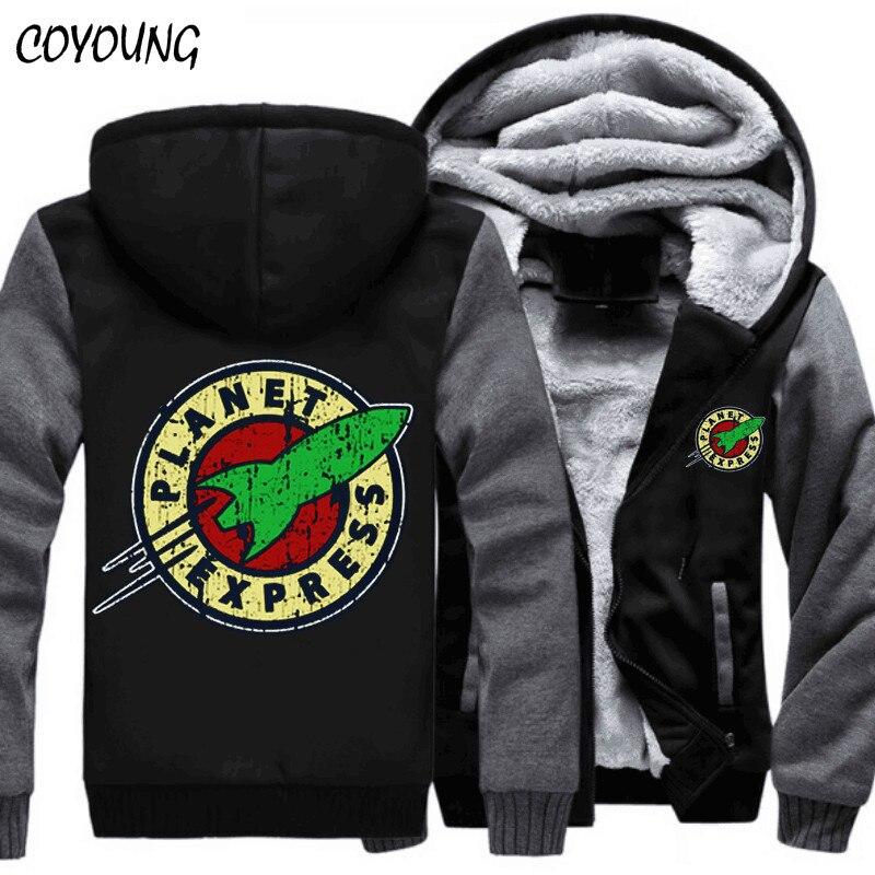 Free Shipping USA size 5XL Hoody Men Planet Express Thicken Fleece Hoodies Zipper Casual Coat Custom made Clothing Jacket