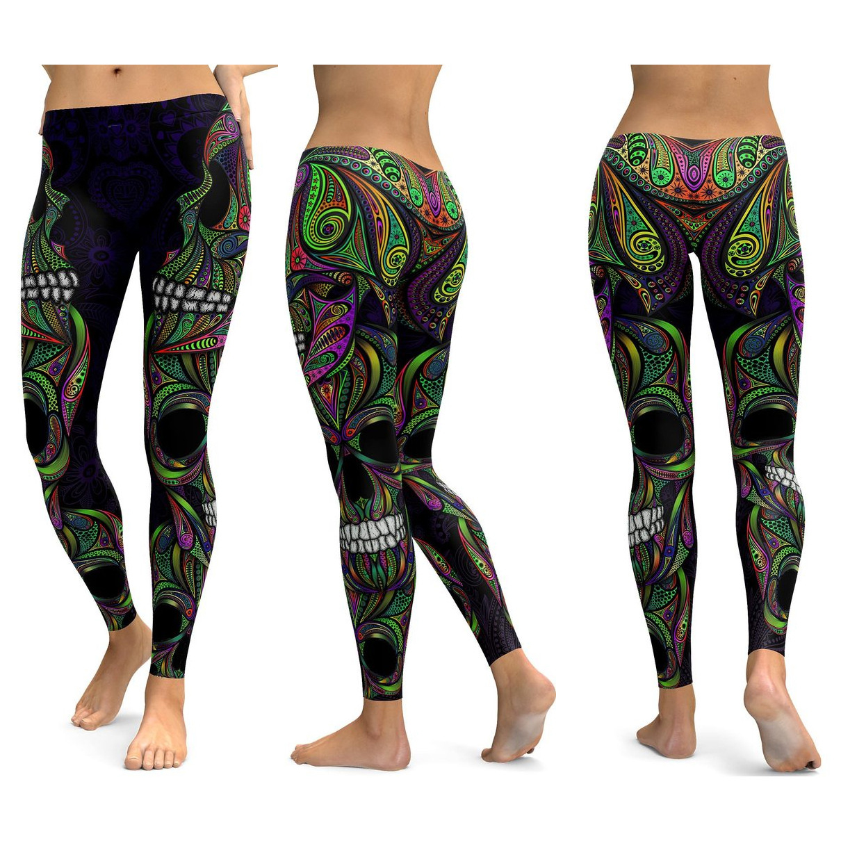 Skull Leggings Yoga Pants Women Sports Pants Fitness Running Sexy Push Up Gym Wear Elastic Slim Workout Leggings 34