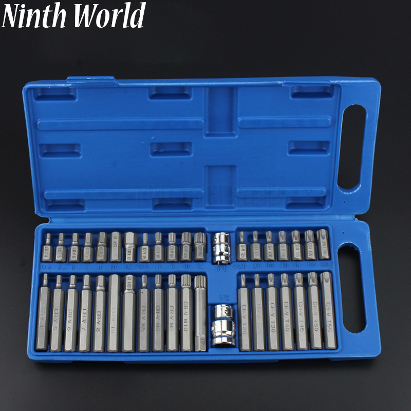 40pcs / set Hex Star Spline Socket Screwdriver Bit Set 1/2 3/8 Drive Sockets Power Tool Bits Set Car Van Repair Tools Kits 46pcs socket set 1 4 drive ratchet wrench spanner multifunctional combination household tool kit car repair tools set