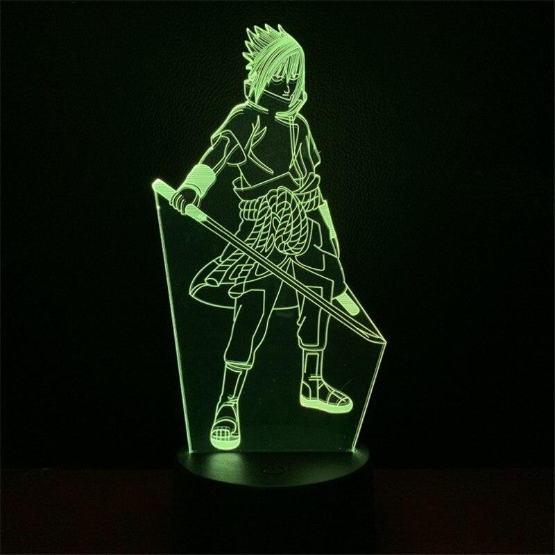 Candeeiro de mesa Naruto Uchiha Sasuke Anime Figura Brinquedo para Crianças lâmpada de Cabeceira 3D Lampara LEVOU Novidade Luz da Noite Criativo Presente Iluminação