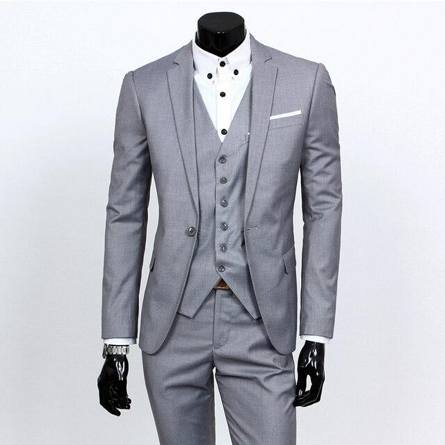 (jackets+vest+pants) 2018 fashion male quality slim high-grade cotton business BLAZER/Men groom dress suit three-piece/jackets 1