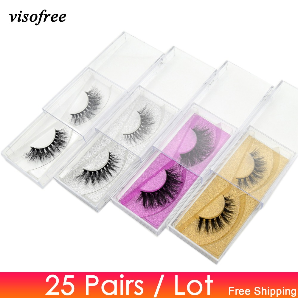 Visofree 25 Pairs/lot Mink Eyelashes Full Volume Stunning 3D Mink Lashes Handmade Full Strip Lashes Maquillage Makeup Eye Lashes