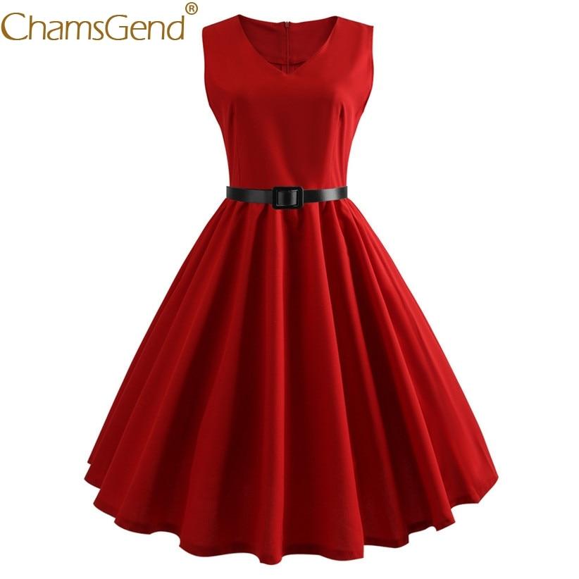 HOT SALE Fashion Vintage Dress Women V Neck Elegant Sleeveless Evening Party Dresses 80514 Free Shipping