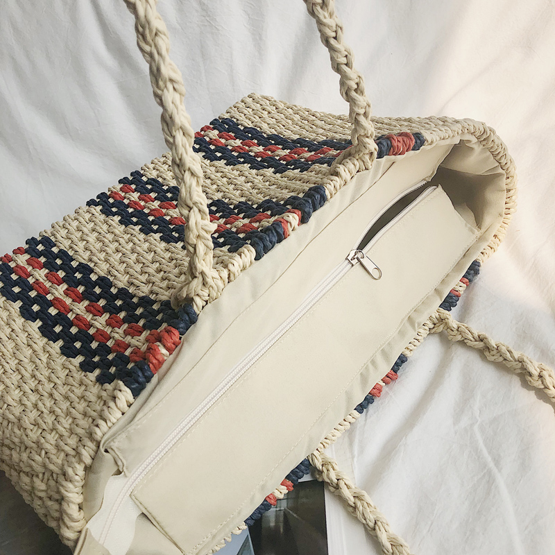 New women 39 s bag straw woven bag single shoulder compound rattan woven bag woven women 39 s bag in Top Handle Bags from Luggage amp Bags