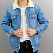 Jacket Jeans Men 2018 Winter Thicken Warm Lamb Wool Fleece Lining Denim Jacket Men Coats Cotton Hip Hop Jaqueta Masculino Coat(China)