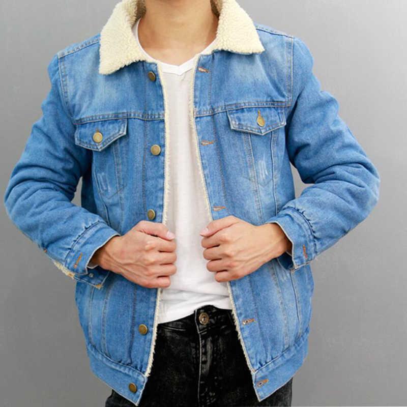 ea84418c13e Jacket Jeans Men 2018 Winter Thicken Warm Lamb Wool Fleece Lining Denim  Jacket Men Coats Cotton