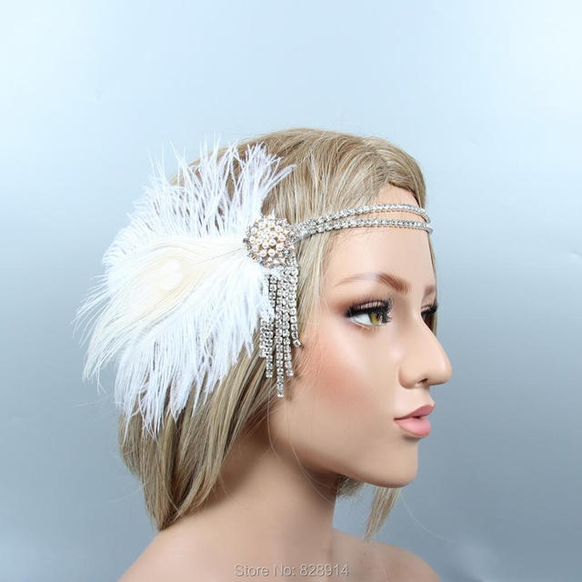 d58944f6289a2 Factory Wholesale 1920 s Gatsby Flapper Headpiece Crystal Bride Headpiece  Ivory Feather Headband Bridal Crown HS10266