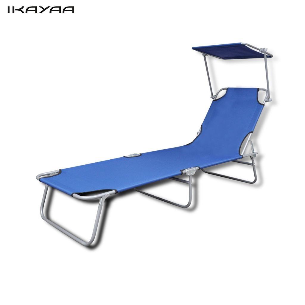 ikayaa azul silla de jardn tumbona plegable al aire libre con dosel 189x58x27 cm es la
