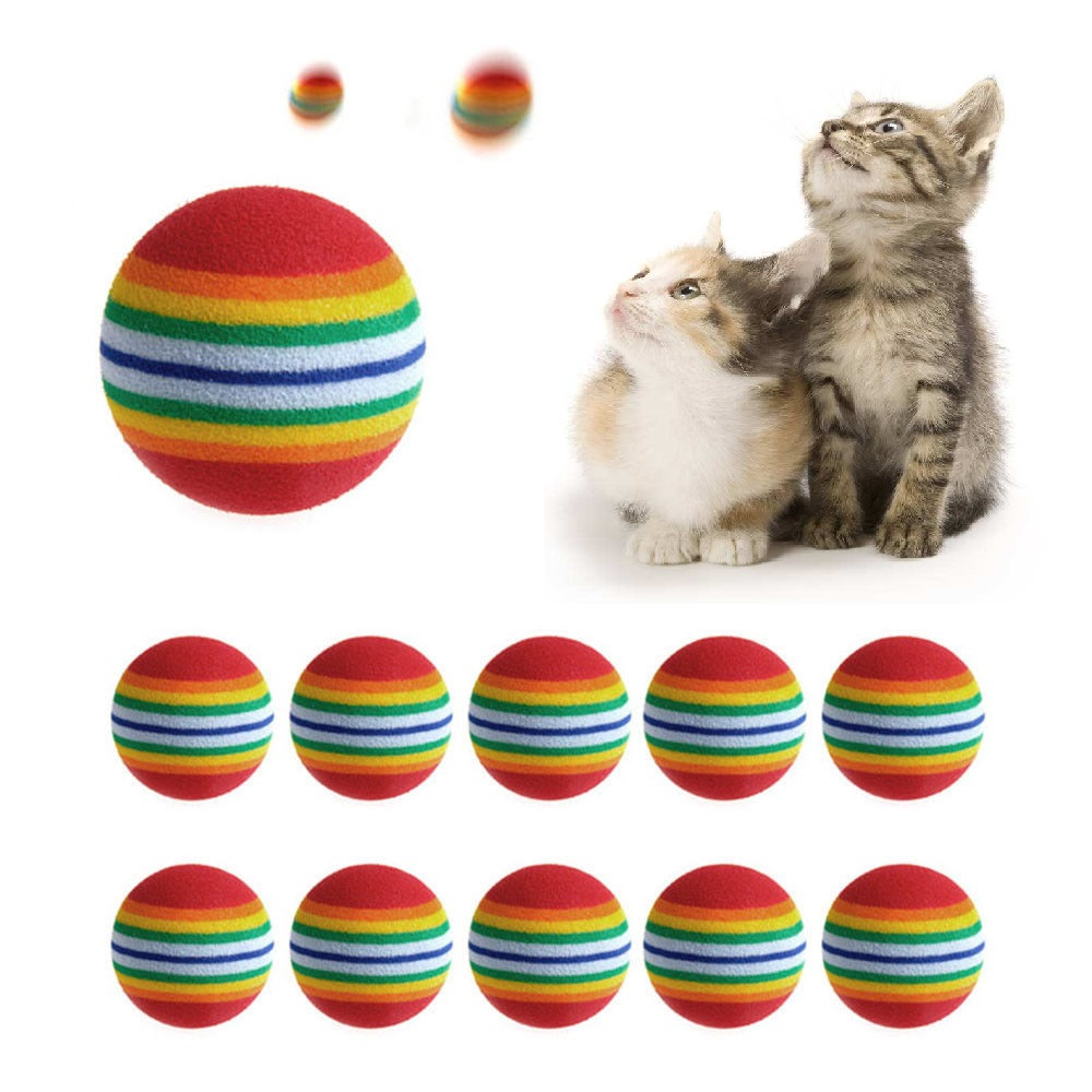 20pcs Cat Supplies 3.5cm Cat Ball Toys For Puppy Cat Interactive Playing Chew Toy Rattle Scratch EVA Ball For Pet Cat Training