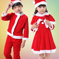 New Upscale Santa Claus Suit for Boys Girls Christmas New Year Santa Claus Cosplay Hat Top Pants Russian Vintage set L160