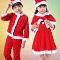 Nova Upscale Papai Noel Terno para Meninos Meninas Natal Novo ano Papai Noel Cosplay Chapéu Calças Top Russa Vintage set L160