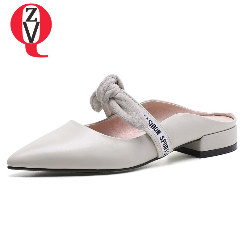 ZVQ summer new cow leather low square heels butterfly-knot outside solid shallow leisure large size women mules shoes