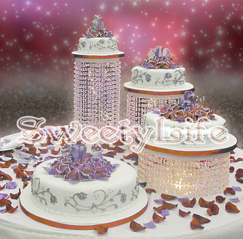 """3pcs/set Birthday Home Decoration Crystal transparent acrylic cake stand Height 5.9"""" ~ 17.7"""" Small cake holder"""