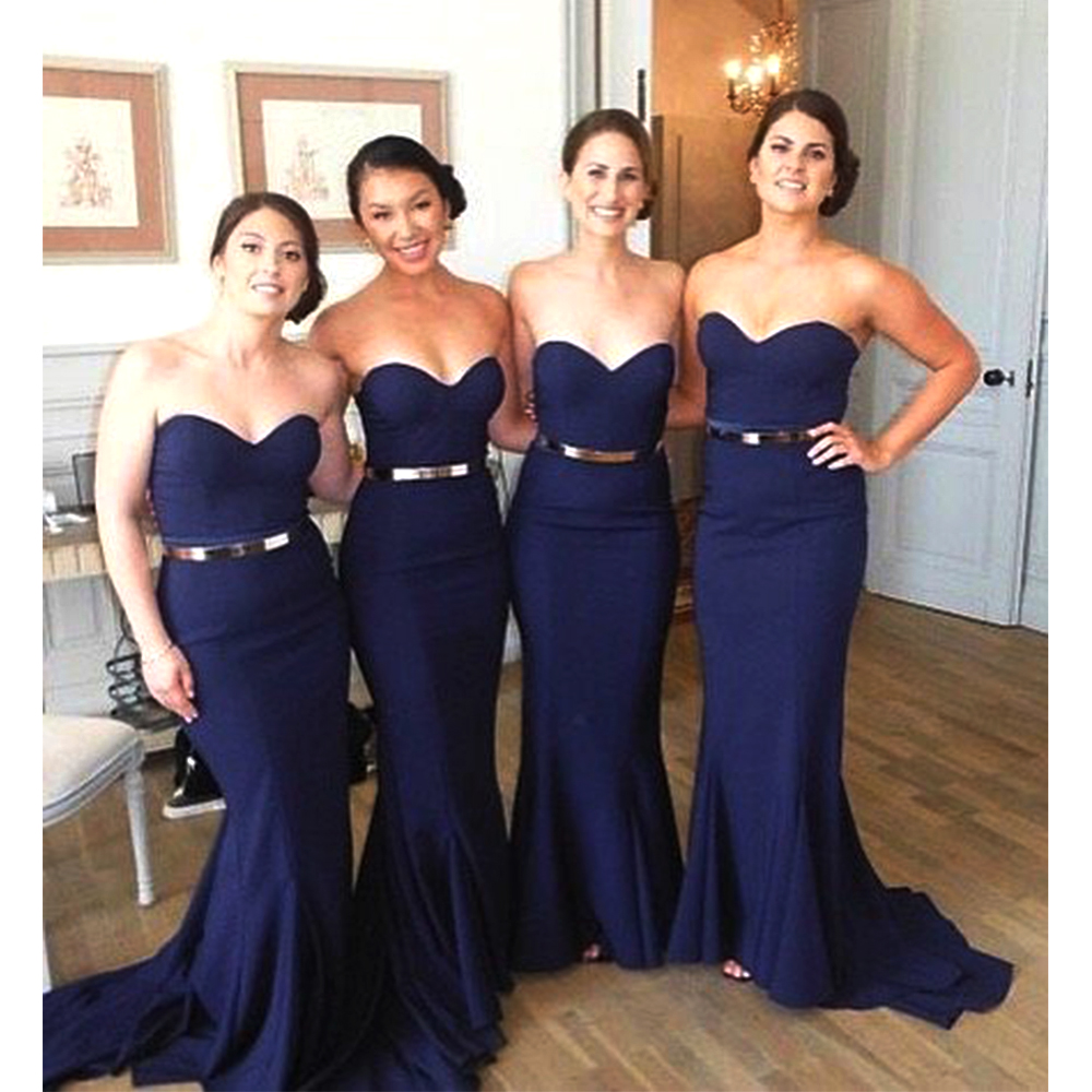 72c87beb242f0 Elegant Dark Navy Blue Bridesmaid Dresses Long Mermaid Bridesmaid ...