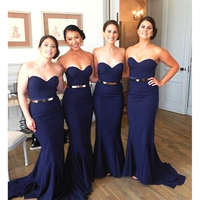 Elegant Dark Navy Blue Bridesmaid Dresses Long Mermaid Bridesmaid Dress With Belt Sexy Simple Sweetheart Bridesmaid