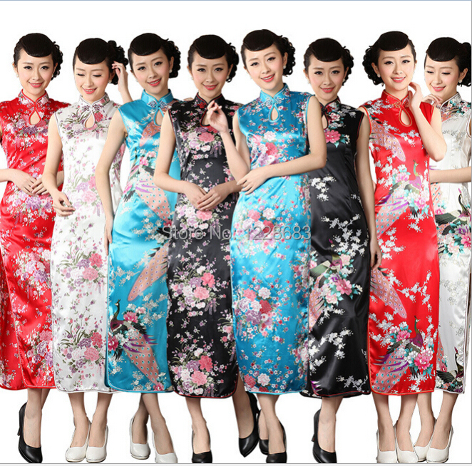 High Quality Blue White Black Red Chinese Traditional Dress Long Qipao Pattern Traditional Cheongsam Qipao