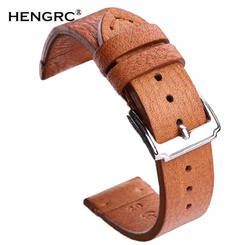 Cowhide Leather Watchbands 18mm 20mm 22mm Men Women Vintage Watch Band Strap Blet With Stainless Steel Pin Buckle