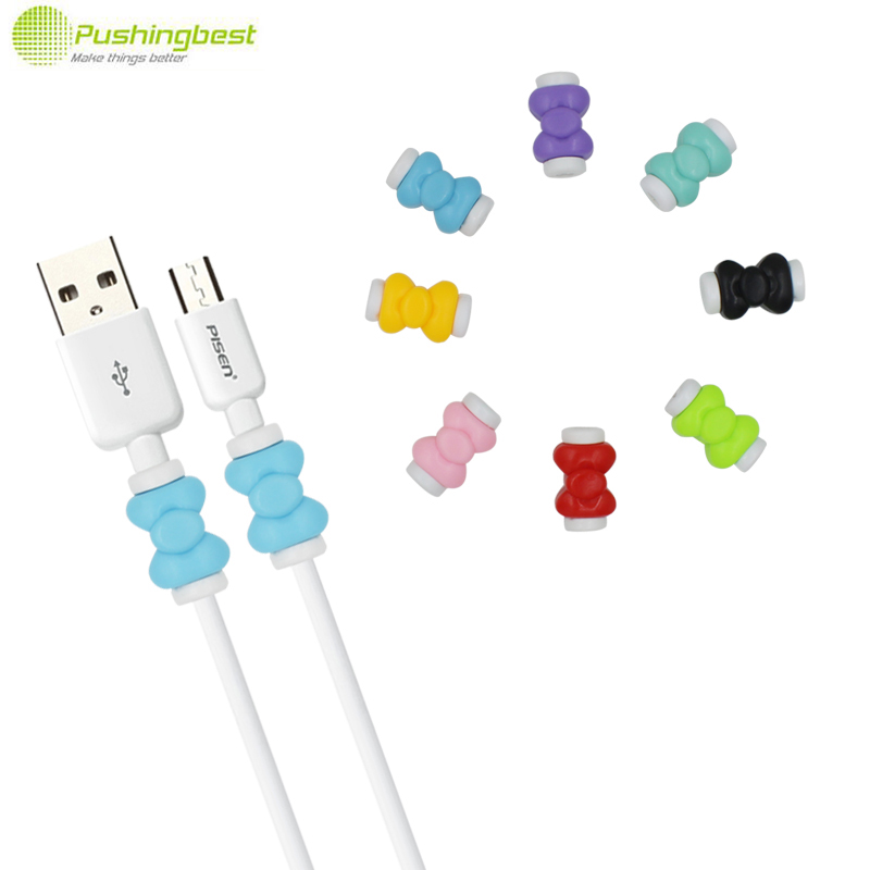 Pushingbest Bowknot USB Cable Earphone Protector Cover