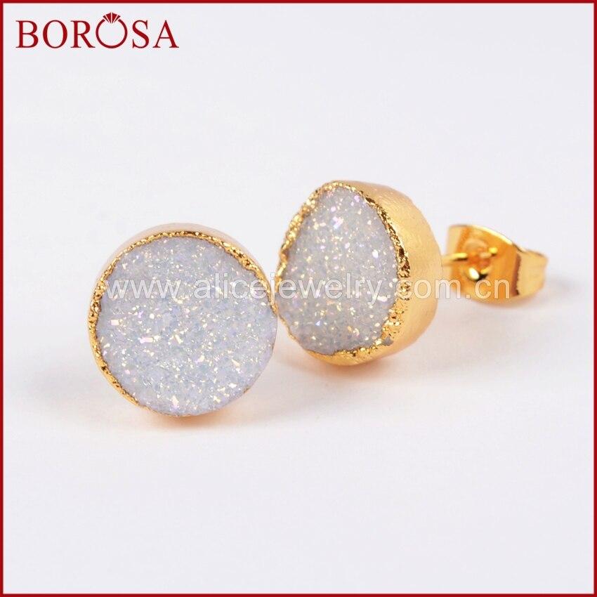 a4f86ae03 BOROSA Fashion Gold Druzy Stud Earrings For Women, 10mm Round Crystal  Titanium AB Druzy Stud Earrings G681-in Stud Earrings from Jewelry &  Accessories on ...