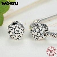 Genuine 100 925 Sterling Silver Cherry Blossom Clip Charm Fit Original Pandora Bracelet Pendant Authentic DIY